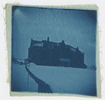 The original Rockefeller Hall in snow, as depicted in a cyanotype printed on cloth, from the collection of Charlotte and Mary A. C. Ely, Class of 1861