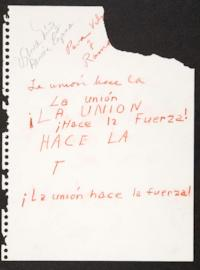 ¡La unión hace la fuerza!;page torn from a notebook with dedication to Vilma Núñez and Ramón Rozano, by Sue Coe, Visiting Artist