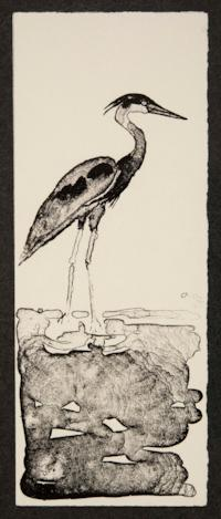 Print depicting a heron, a New Year's greeting from Melissa Katzman Braggins and Ted Braggins to Nancy Campbell, and a card about their lithography business, Pondside Press