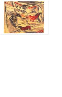 "Invitation to the opening of the Art Museum's ""Ten Workshops"" exhibition of prints from Mount Holyoke Printmaking Workshops, 1984-2000, illustrated by Elaine de Kooning's ""Lascaux Series I"" lithograph from her 1984 workshop"
