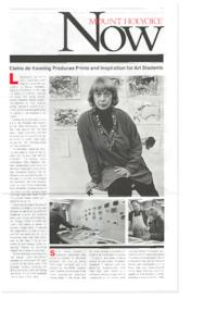 Mount Holyoke Now, with front-page article about printmaking workshop featuring visiting artist, Elaine de Kooning