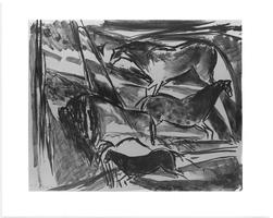 "Print from visiting artist Elaine de Kooning's ""Lascaux Series,"" created during her printmaking workshop at Mount Holyoke"