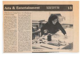 "Visiting artist Jane Dickson at work, pictured in an article about her printmaking workshop, from ""The Mount Holyoke News"""