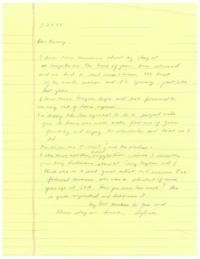 Letter from visiting artist Sylvia Plimack Mangold to Professor Nancy Campbell