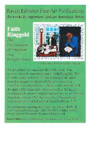 "Publicity for publication of series of six serigraphs, ""The Declaration of Freedom and Independence,"" by Faith Ringgold, who created one of the serigraphs as visiting artist in Mount Holyoke printmaking workshop"