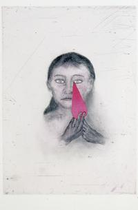 Josephine, color intaglio print begun by visiting artist Kiki Smith during the Tenth Mount Holyoke College Printmaking Workshop