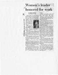 Women's leader honored for work, by Craig Nardini, from The Republican