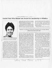 Laurie Priest Wins Mabel Lee Award for Leadership in Athletics, from the College Street Journal
