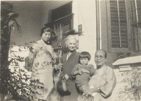 Yau Tsit Law with her mother-in-law, daughter, Oon Cheung Law and Mande Bough