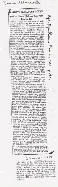 Kathryn Irene Glascock Newspaper Article