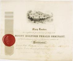 Diploma of Mary Hooker, class of 1845