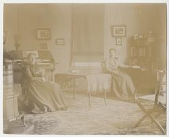 Missionaries Harriet L. Cole and Mary L. Matthews (ex-Class of 1885) in their sitting room in Monastir (Bitola), European Turkey (Macedonia), photographed by Lewis Bond