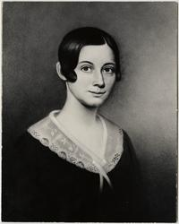 Nancy Everett Dwight at age 25, photograph of portion of a painting by Joseph G. Chandler in the Mount Holyoke Art Museum