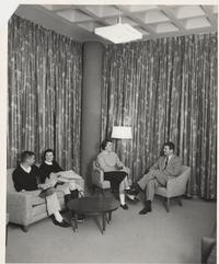 Scott Cunningham, Nancy Ayer, Julia Brabson, and Neil Doherty in Buckland Hall, in 1956