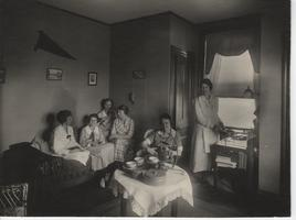 Mount Holyoke College students enjoying a cup of tea