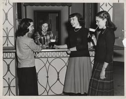 Mount Holyoke College students Nancy Lou Burhan, Phyllis Greenlaw, Pat Pukett and Jean Bormu catch up over sodas at the Wilbur Soda Bar