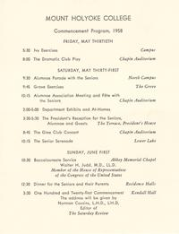 Mount Holyoke College Commencement Program, 1958