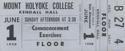 Ticket to Mount Holyoke College commencement exercises