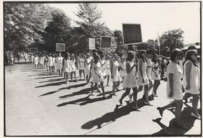 Mount Holyoke College Students in the Laurel parade with Peace Signs