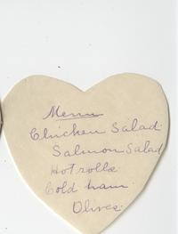 Heart shaped menu from 1899 dinner