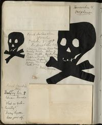 Notes and paper cutouts from first Halloween and first Founder's Day of Maude Aldrich, Class of 1902
