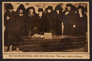 """Once more Mount Holyoke juniors bury their prom,"" from the scrapbook of Madeline Barlow, Class of 1921"