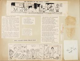 Page from scrapbook of Ruth Fear, Class of 1921, with news clippings and cartoons about the influenza epidemic