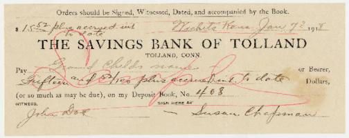 Check sample from The Savings Bank of Tolland to Susan Chapman (Boa), mother of Caroline Henderson