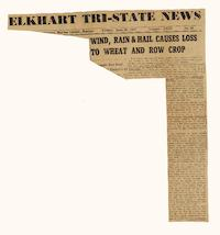 Wind, Rain & Hail Causes Loss to Wheat and Row Crop, article from the Elkhart Tri-State News, Volume LXXI, No. 26
