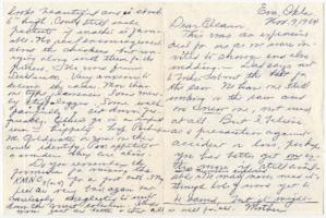 Letter from Caroline Henderson to Eleanor Henderson, on back of wedding invitation from Mr. and Mrs. Irwin J. Strothman
