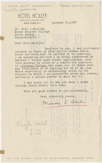 Correspondence between Marion Blake and Mary E. Woolley regarding plans to fill the position of Miss Galt, a Mount Holyoke archaeology professor who had died