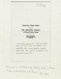 Program for the Annual Inter-Chapter Debate held by the Debating Society of Mount Holyoke College, May 28, 1909