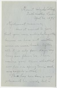 Letter from Matilda S. Calder, Class of 1896, to her mother