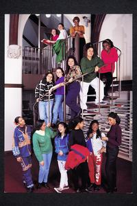 Group of African American, Latina, Asian American, and Native American (ALANA) students on staircase in Williston Memorial Library