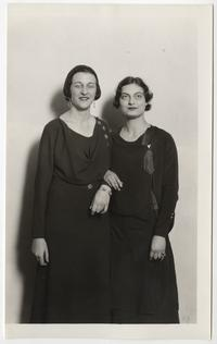 "Grace Van Nostrand '32 and Elizabeth Watts '33, leading cast members in the Dramatic Club's production of Pirandello's ""Right You Are"""