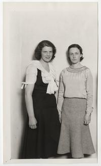 "Camille Delnoce '31 and Janet Brewster '33, leading cast members in the Dramatic Club's production of Pirandello's ""Right You Are"""