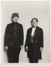 "Louise Hyde '32 and Elizabeth Pynchon '33 dressed for their roles in the Dramatic Club's production of Pirandello's ""Right You Are"""