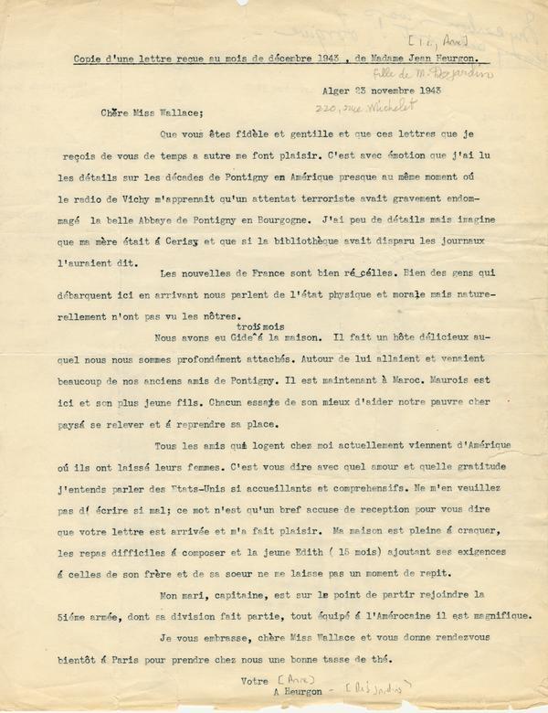 Mrs Jean Heurgon To Elizabeth Wallace November 23 1943