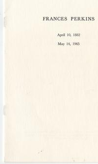 Frances Perkins Requiem Mass program, May 18, 1965