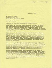 Correspondence between Ella Grasso and Arthur J. Hughes, November-December 1973