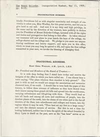 Inaugural Address: Mary Emma Woolley, A.M., Litt.D., L.H.D.