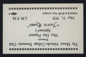 "Mount Holyoke College Dramatic Club ""Faerie Queen"" ticket"
