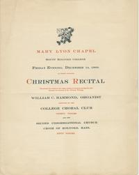 Christmas Recital Program, December 14, 1900
