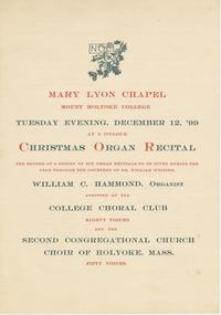 Christmas Organ Recital Program, December 12, 1899