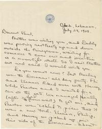 Esther Ward letter to Paul Ward, July 29, 1928