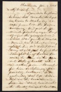 Letter from Lyman Peet to Hannah Louisa Plimpton, January  4, 1858