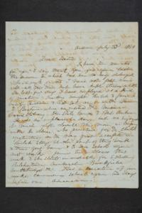Letter from Salem M. Plimpton to his sister, Hannah Louisa Plimpton, Class of 1848