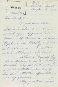 Letter from Joan Dunkelberger to Virginia Apgar
