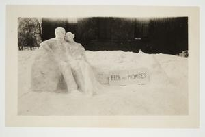 """Prom and Promises,"" snow sculpture outside Pearsons Hall dormitory, designed by Ursula G. Sanders '26 for Winter Carnival"
