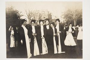 Students from the Class of 1910 participating in Senior Rope Jumping, l-r, Jessie Maclay, Katherine Boughton, Florence Hier, Mary Gleason, Helen Parsons, and Elizabeth Dame